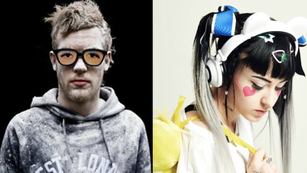 A split screen image of DJ/producers Rusko and Ducky.