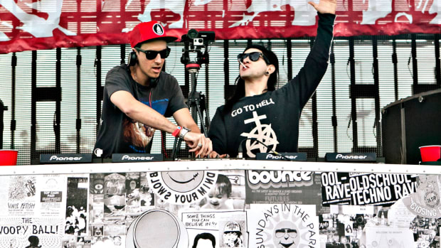 DJ/producers Skrillex and Boys Noize performing as Dog Blood.