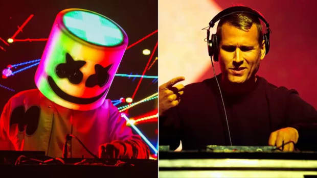 A split screen image of DJ/producers Marshmello and Kaskade during performances.
