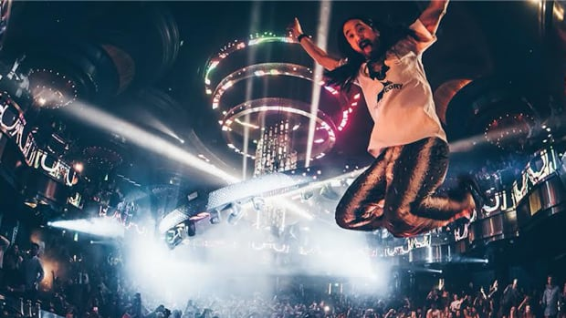 Steve Aoki in mid air during a performance at OMNIA Nightclub in Las Vegas.
