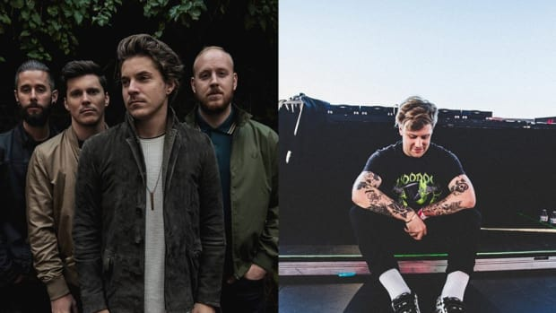 A split-screen image of post-hardcore band Our Last Night (on the left) and DJ/producer Kayzo (on the right).