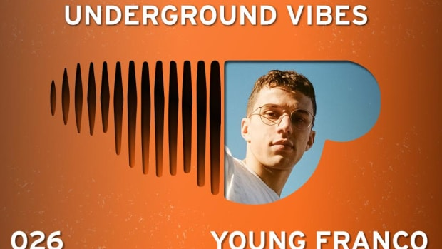 The promo image for the 26th edition of Underground Vibes, which shows producer Young Franco inside an upside-down SoundCloud logo.