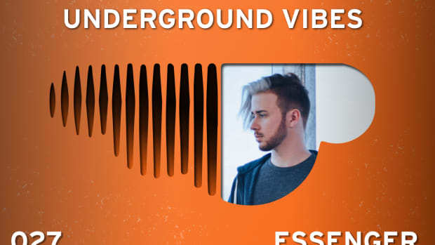 An image of DJ/producer Essenger inside an upside-down SoundCloud logo, which is the Underground Vibes symbol.