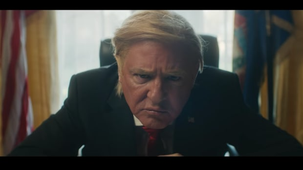 "A still screen from the video for Clean Bandit's ""Mama"" featuring Ellie Goulding which depicts U.S. President Donald Trump."