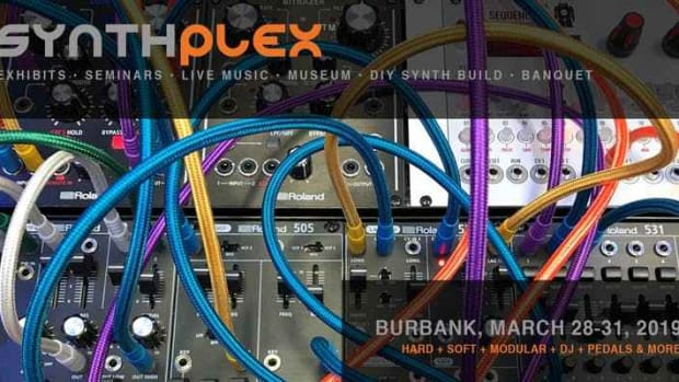 Artwork for the 2019 edition of Synthplex, the first-ever synthesizer festival in Los Angeles.
