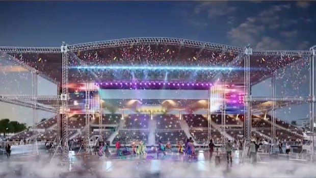 A concept design of Miami Marine Stadium in Key Biscayne after renovations.