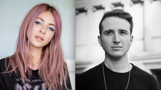 A split-screen photo of Alison Wonderland (real name Alexandra Sholler) and RL Grime (real name Henry Alfred Steinway).