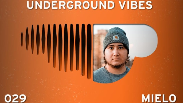 An image used for the Underground Vibes series featuring Mielo with an upside-down SoundCloud logo.