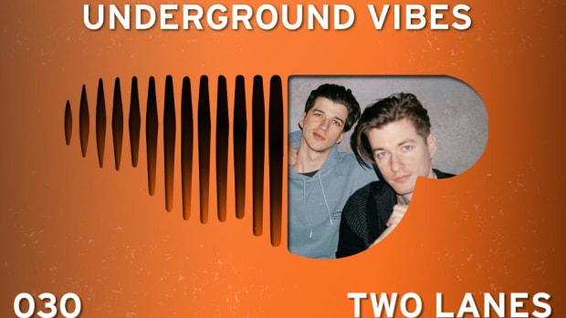 The cover image for Underground Vibes 030 with DJ/producer duo TWO LANES in an upside-down SoundCloud logo.