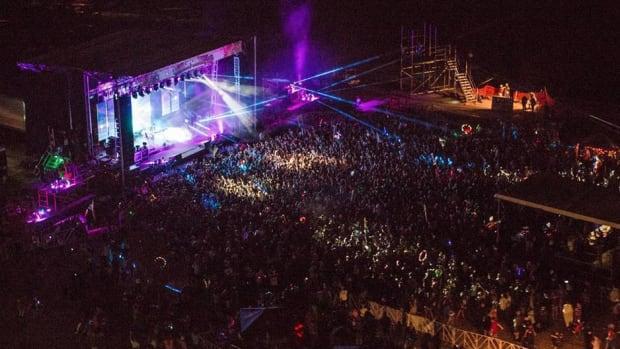 An overhead shot of Kansas City, Missouri EDM festival Dancefestopia.