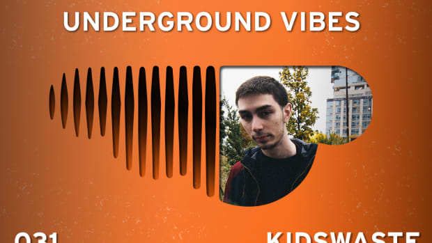 An image of pdocuer Kidswaste inside an upside-down SoundCloud logo for the cover of Underground Vibes 031.