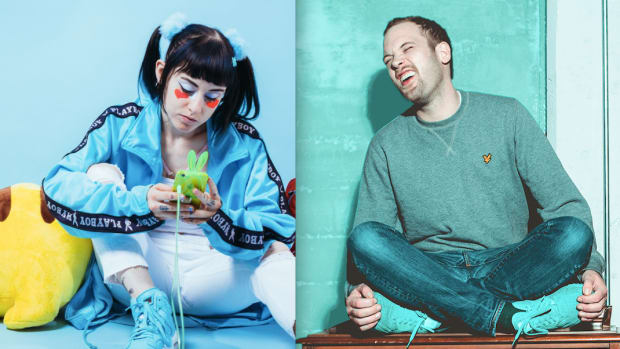 A split screen photo of DJ/producers Ducky (real name Morgan Neiman) and Rusko (real name Christopher Mercer).