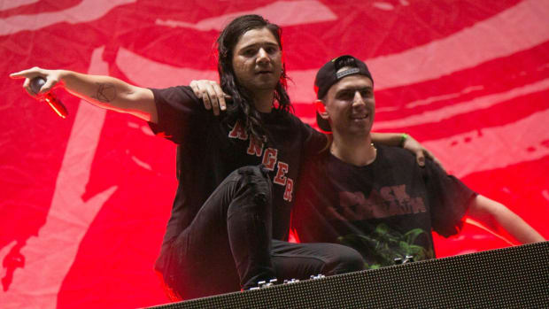 A photo of Skrillex (real name Sonny Moore) and Boys Noize (real name Alexander Ridha) during a performance as Dog Blood.