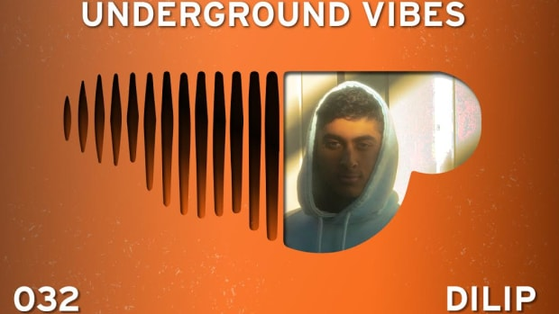 An image of Dilip for Underground Vibes 032 in which he is pictured inside an upside-down SoundCloud logo.