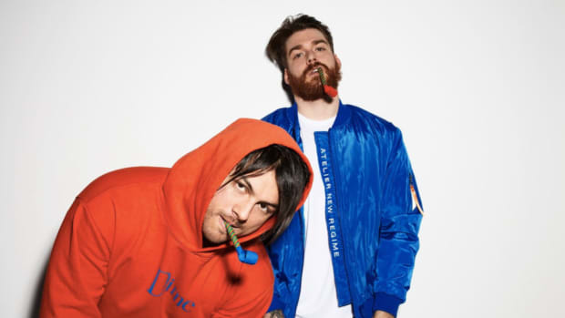From left to right, Christian Srigley and Leighton James of Adventure Club wearing a red hoodie and Blue jacket, respectively.
