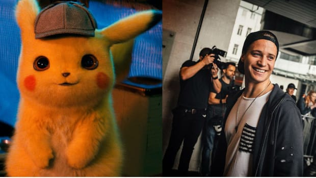 Split Screen of Pikachu from Pokemon: Detective Pikachu and DJ/producer Kygo.