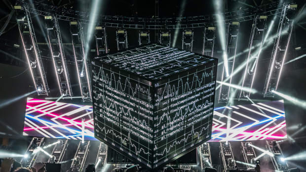 A photo of deadmau5' Cube 3.0 stage show debut at Ultra Music Festival in Miami.