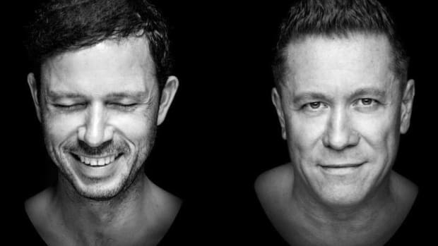 Black-and-white head shot of DJ/producer duo Cosmic Gate.
