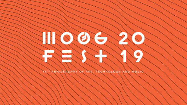 Orange Moogfest 2019 banner image with black elliptical lines.