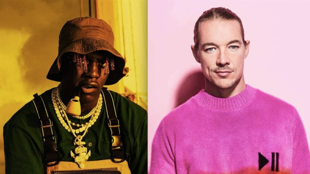 A split screen image of rapper Lil Yachty and DJ/producer Diplo (left to right).