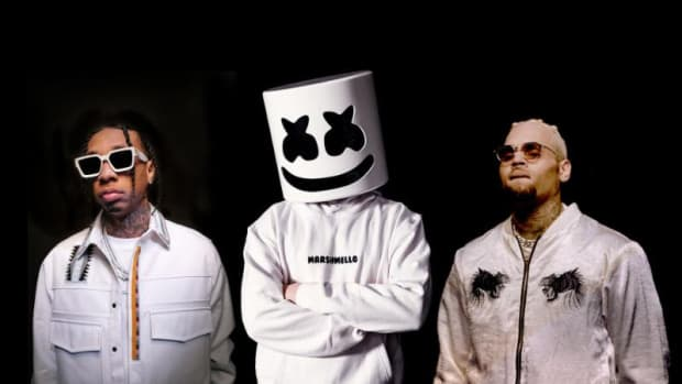From left to right: Tyga, Marshmello and Chris Brown all dressed in white over a black background.