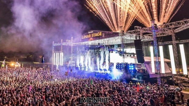 A photo of fireworks going off at Moonrise Festival's Lunar Stage.