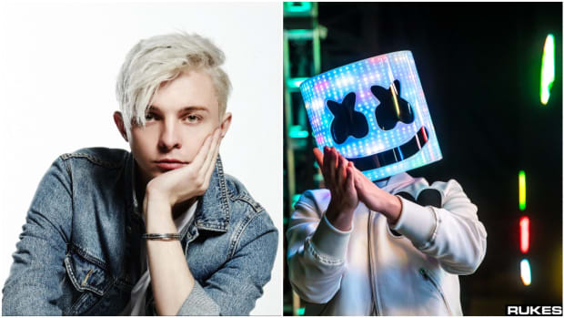 A side-by-side photo of DJ/producers ARTY and Marshmello (left to right).
