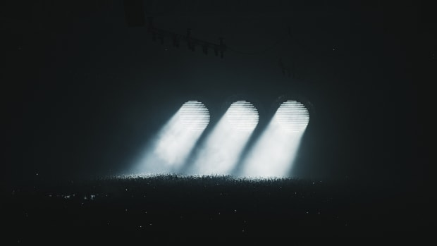 EDM supergroup Swedish House Mafia (comprised of Sebastian Ingrosso, Steve Angello and Axwell) during a 2019 performance at Tele2 Arena in Stockholm.