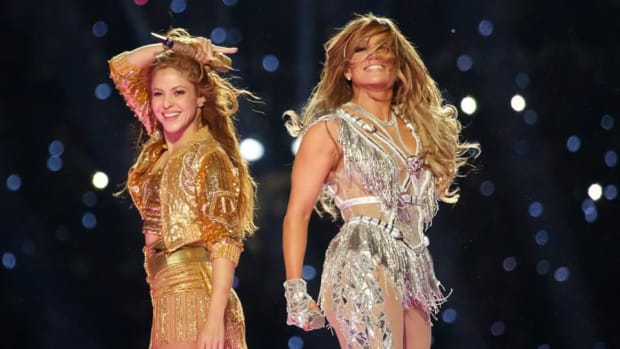 Shakira and Jennifer Lopez at the Super Bowl