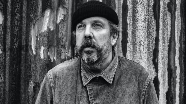 Black-and-white photo of Andrew Weatherall.