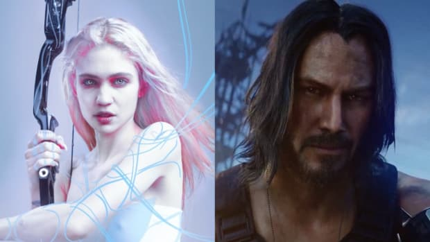 Grimes and Keanu Reeves' character from Cyberpunk 2077