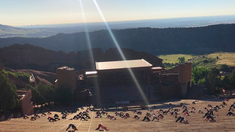 "Take a Look Inside the Return of ""Yoga on the Rocks"" at Red Rocks Amphitheatre"