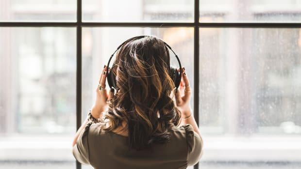 Girl Headphones Window