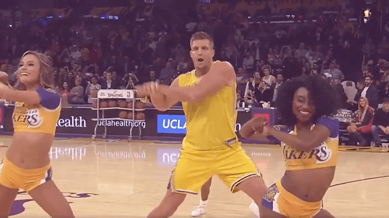 James Corden and Gronk Dance to Zedd at a Lakers Halftime Show with the Laker Girls