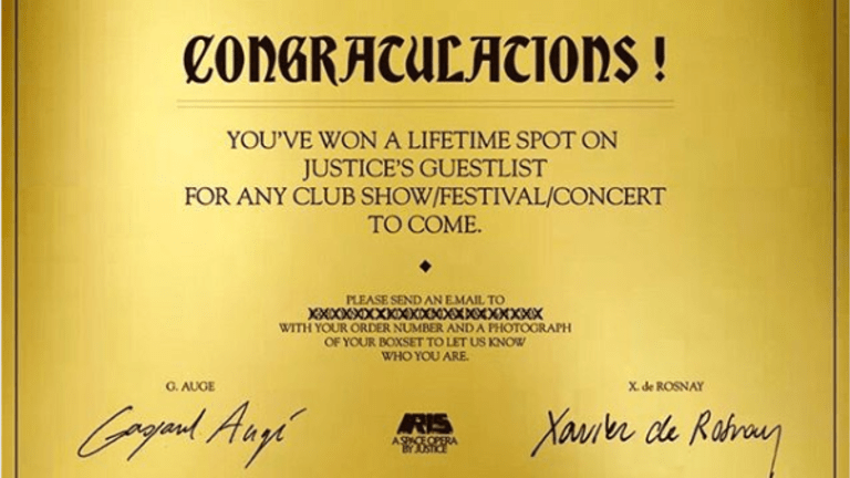 "Justice Are Giving Away Free Guestlist for Life via ""Golden Tickets"""
