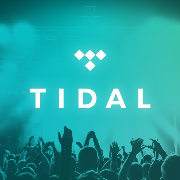 The TIDAL logo over an image of a crowd at an event with a blue/turquoise overlay.