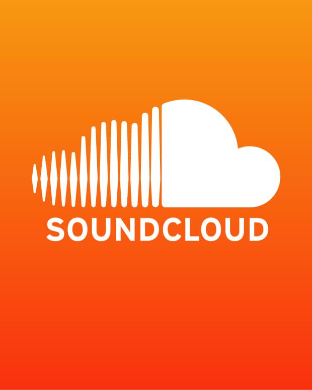 The SoundCloud logo in white over orange.
