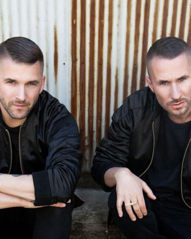 Color press photo of Swedish DJ/producers Galantis A.K.A. Christian Karlsson and Linus Eklöw.