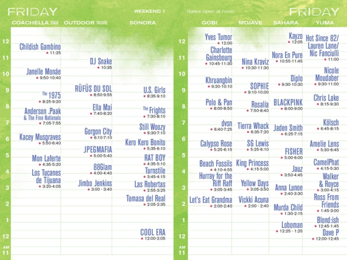 Coachella Weekend One Set Times and Layout Released for 2019 Edition