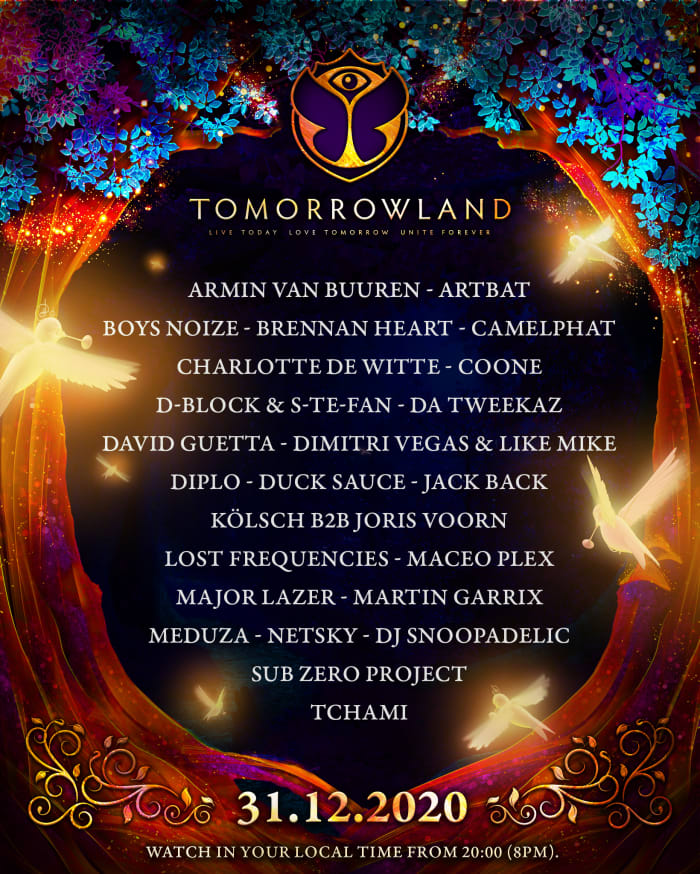 Tomorrowland + 31.12.2020 + - + alineación + - + 1