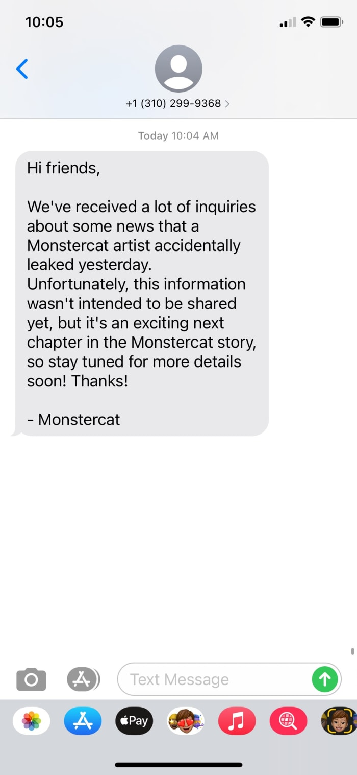 Screenshot of a message shared in Monstercat's SMS community addressing the rumors of Monstercat+. [Screenshot by EDM.com]