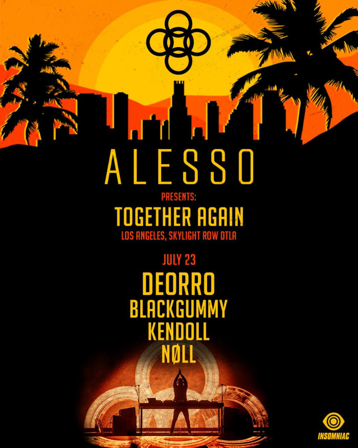 Flyer for Alesso's July 23rd show in Los Angeles withDeorro, BlackGummy and more.