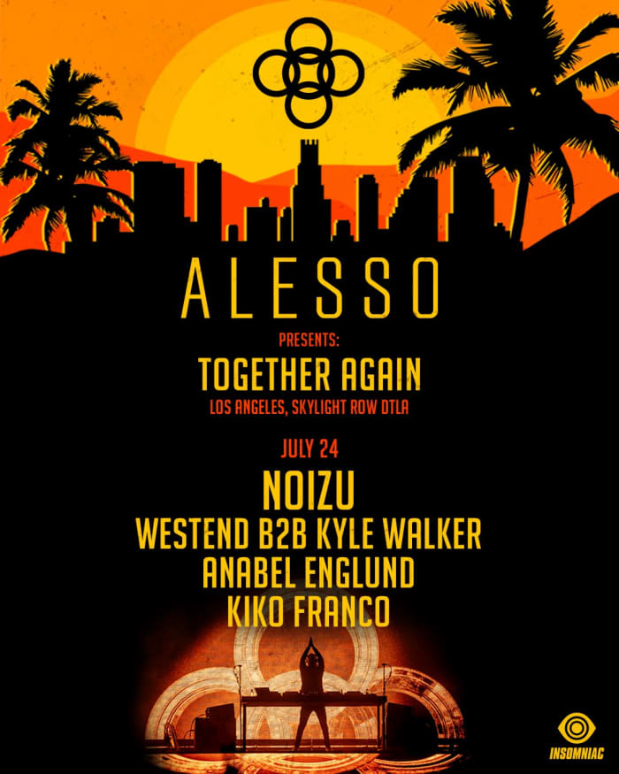 Flyer for Alesso's July 24th show in Los Angeles with Noizu, Anabel Englund and more.