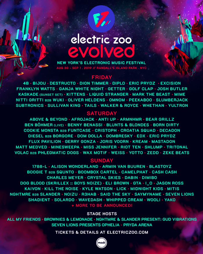 Electric Zoo Unveils 2019 Lineup By Day Edm Com The