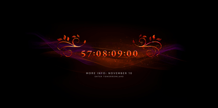 عکس صفحه از شمارش معکوس Tomorrowland برای رویداد NYE مجازی 2020.