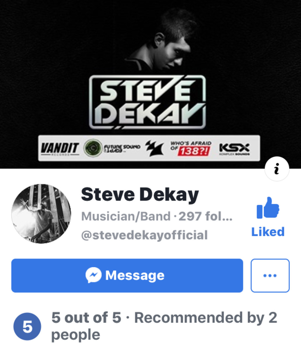 New Steve Dekay Professional Facebook Page.
