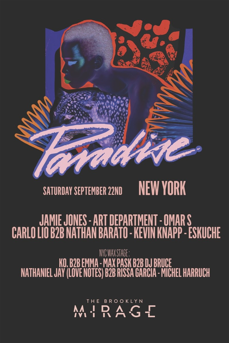 Jamie Jones Paradise - Brooklyn Mirage Lineup September 2018
