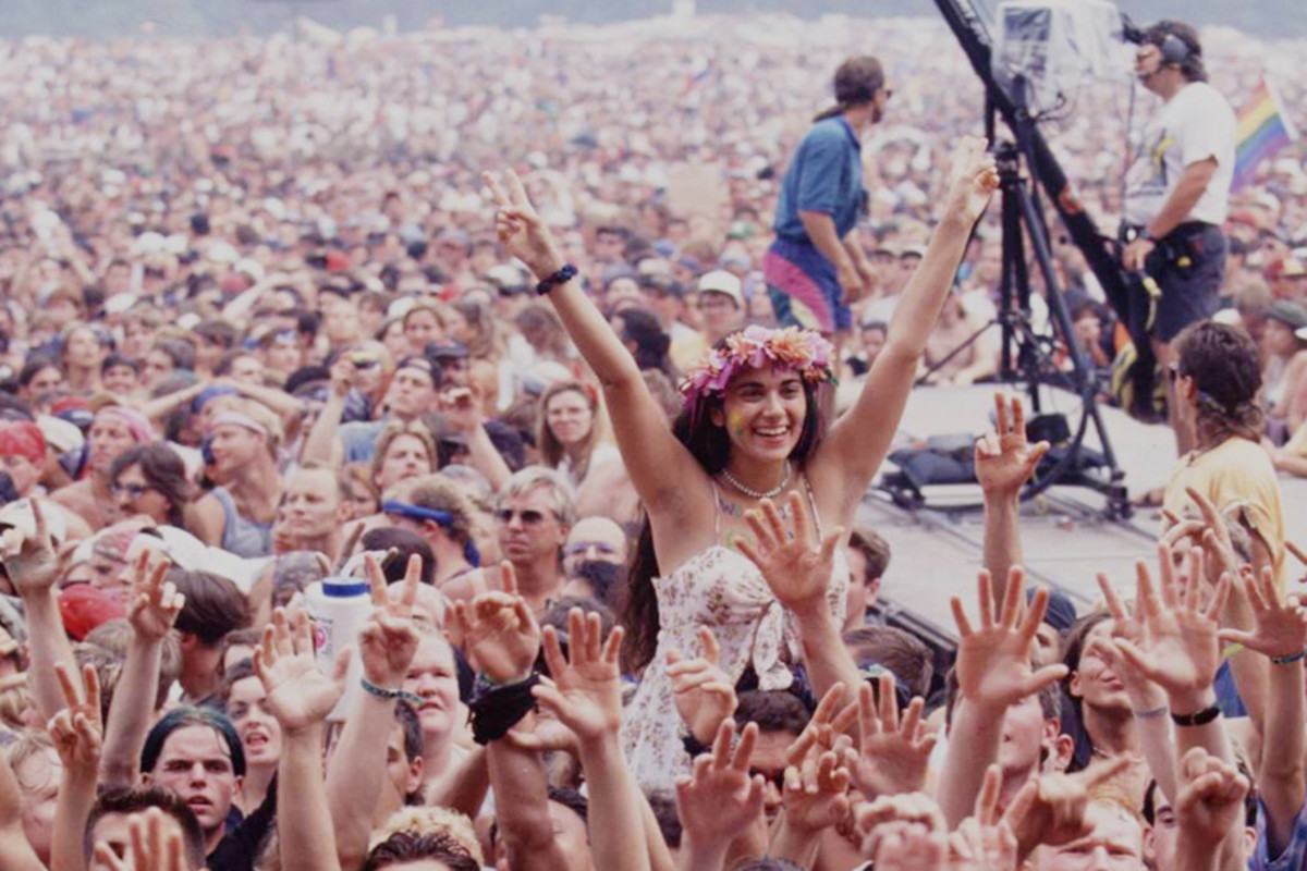 Crowd on 50th year of Woodstock festival