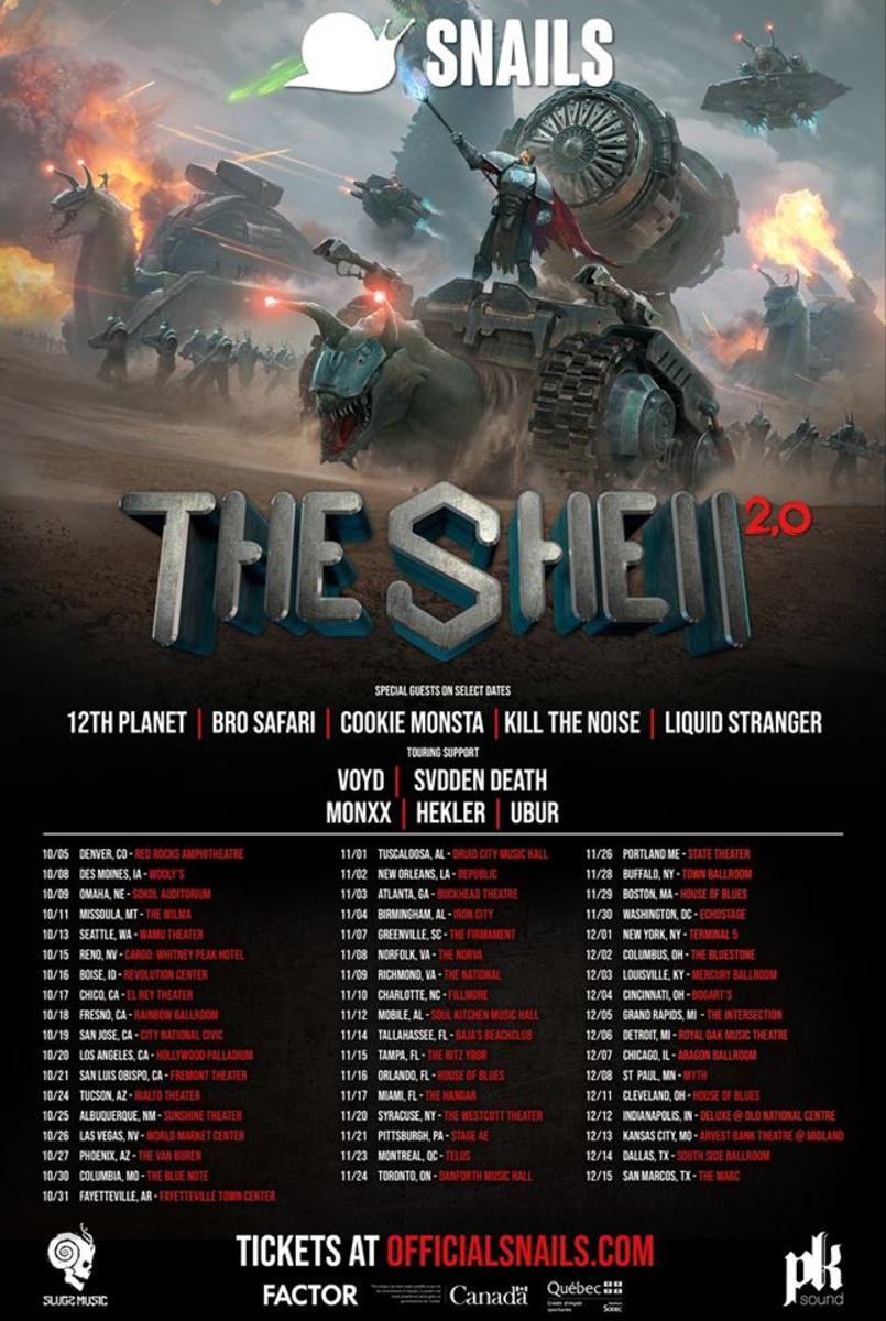 Flyer for Snails' The Shell 2.0 Tour with dates.