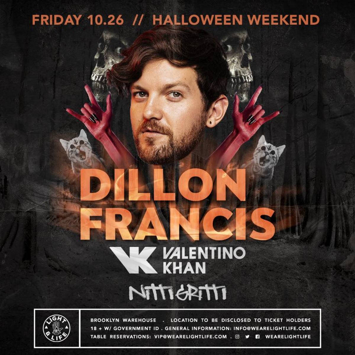 Light & Life Dillon Francis Halloween NYC Valentino Khan Nitti Gritti
